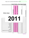 2011 Average Wedding Cost and Wedding Budget Checklist Calculator